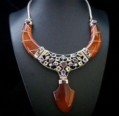Colar Prata Bali 925 com Jade Larana e Mosáico de Pedras Naturais Indiano