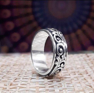 Anel de Prata Bali 925 Giratório Feito a Mão