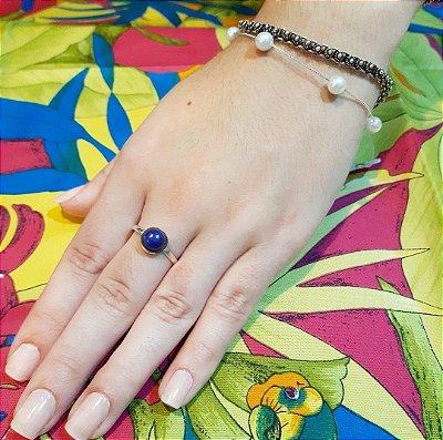 Anel Bali - Prata 925 - Pedra Natural Lapis Lazuli