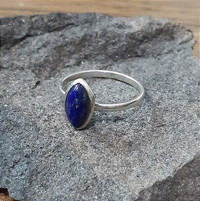 Anel em Prata  925 Bali com Pedra Natural Lapis  Lazuli