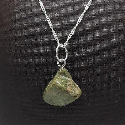 Pingente Pedra Jaspe Verde + Colar Prata 925 1mm x 45cm