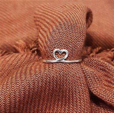 Anel Vazado Prata 925 Coração