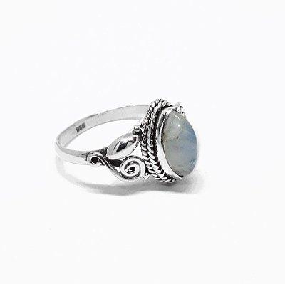 Anel em Prata Bali 925 com Gema Natural Pedra da Lua (FEITO A MÃO)
