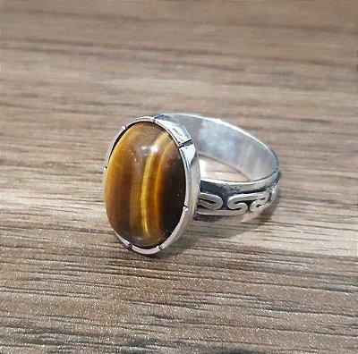 Anel em Prata 950 com Pedra Natural Olho de Tigre