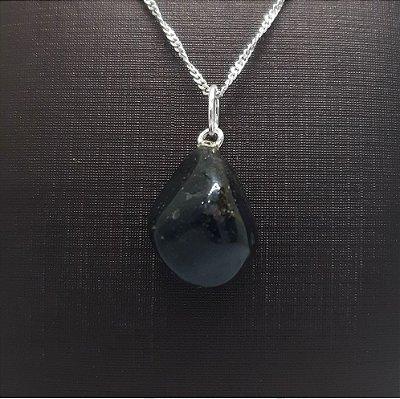 PIngente Pedra Natural Obsidiana Negra e Prata 925 + Corrente Prata 925 Singapura 1mm x 45cm