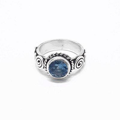 Anel Prata 950 com Pedra Natural Topázio Azul