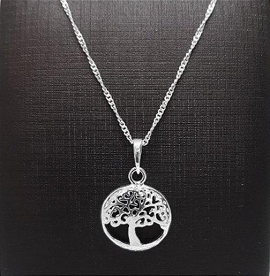 Pingente Prata  925 Árvore da Vida + Corrente Prata 925 Singapura 1mm x 45cm