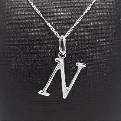 Pingente em Prata 925 letra N + Corrente Prata 925