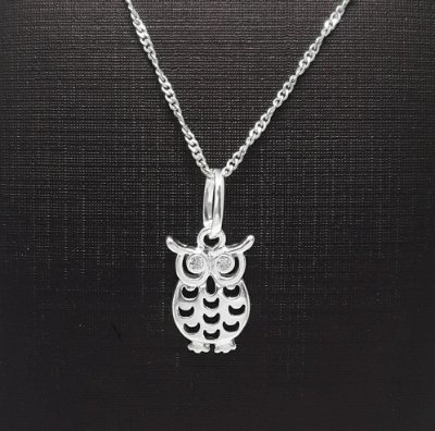 Pingente em Prata 925 Coruja com Zirconias+ Corrente Prata 925 Singapura 1mm x 45cm