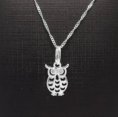 Pingente em Prata 925 Coruja com Zirconias