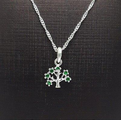 Pingente Prata 925 Árvore da Vida com Zircônias Verdes