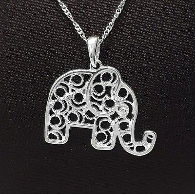 Pingente Prata 925 Elefante Vazado Médio + Corrente Prata 925 Singapura 1mm x 45cm