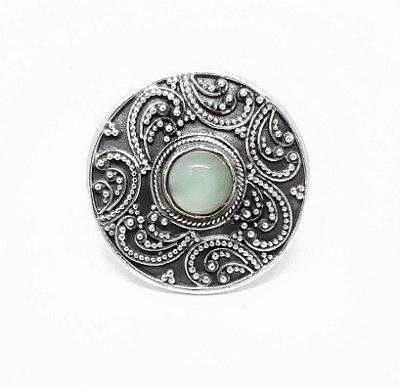 Anel Prata Bali 925 Com Pedra Natural Calcedônia Azul e Trabalho manual  Filigrana