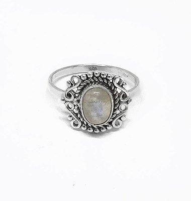 Anel Indiano de Prata 925 e Pedra da Lua -FEITO A MÃO