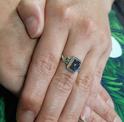 Anel indiano Prata 925 Pedra Natural Labradorita