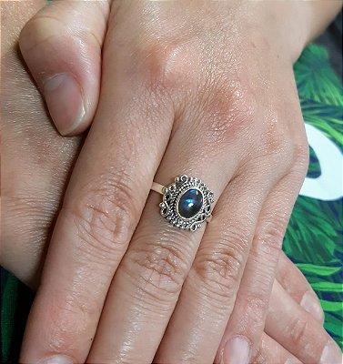 Anel indiano Prata 925 Pedra Natural Labradorita.