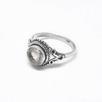 Anel Prata 925 Indiano Pedra Natural Cristal