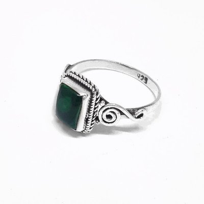 Anel de Prata 925 Indiano Pedra Natural Malaquita