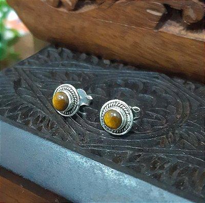 Brinco Indiano Prata 925 Pedra Natural Olho de Tigre.