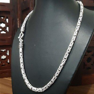 Corrente Prata Bali 925  5mm x 52 cm 74 gr Borobudur (FEITO A MÃO)