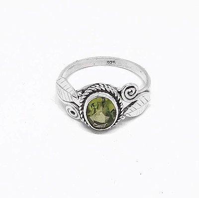 Anel Indiano de Prata 925 Pedra Natural Peridoto oval
