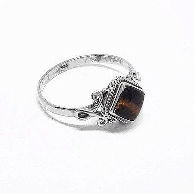 Anel de Prata 925 com Pedra Natural Olho de Tigre