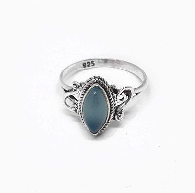 Anel Prata 925 Indiano com Pedra Natural Calcedônia Azul