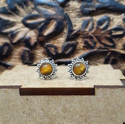 Brinco Indiano de Prata 925 com Pedra Olho de Tigre