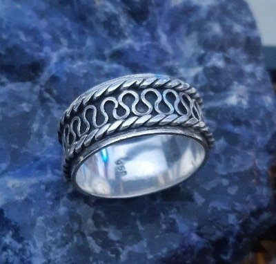 Anel masculino de Prata Bali 950 artesanal