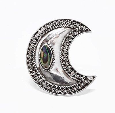 Anel Lua em Prata Bali 925 com Abalone