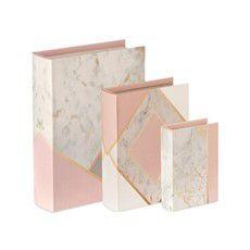 Livro Caixa decorativo Rosa/Marmore Kit c/3