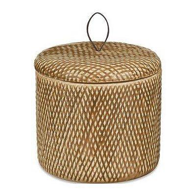 Pote De Cerâmica Redondo Bege 12cm