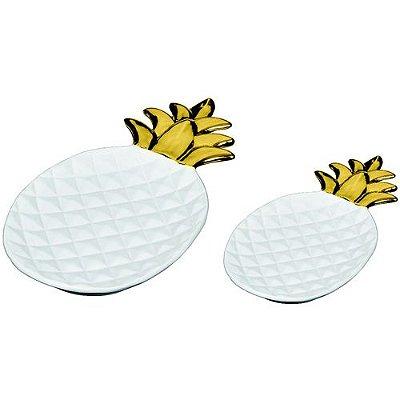 Conjunto de Pratos em Cerâmica Abacaxi 2 Peças Branco e Dourado