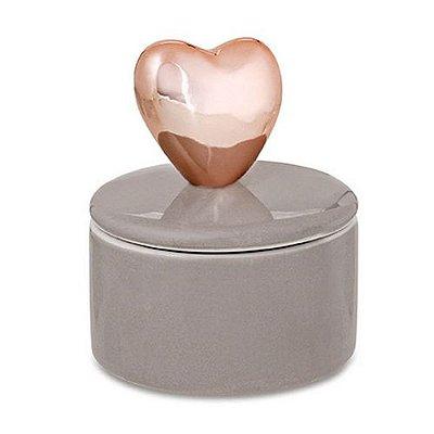 Caixa Redonda Coração Rose Gold/Cinza em Cerâmica