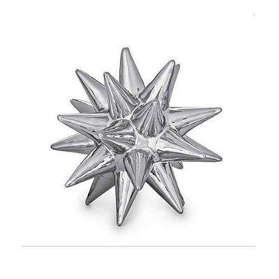 Ouriço Decorativo em Cerâmica Prata