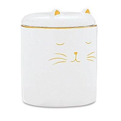 Pote Decorativo Em Cerâmica Gato Branco M