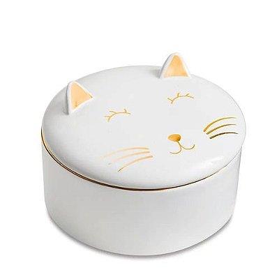 Caixa Redonda em Cerâmica com Tampa - Gato