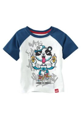 CAMISETA INFANTIL PANDA GRAFITI - AZUL