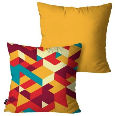 Kit 2 Almofadas Decorativas Geometric Yellow 45cm x 45cm