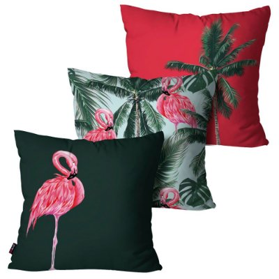 Kit 3 Almofadas Decorativas Palmeiras Flamingo 45cm x 45cm