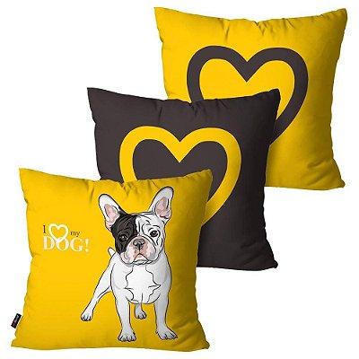 Kit 3 Almofadas Decorativas ANI Love Dog Amarelo 45cm x 45cm