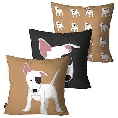 Kit 3 Almofadas Decorativas ANI Love Dog Marrom 45cm x 45cm