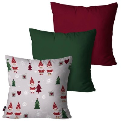 Kit 3 Almofadas Decorativas Natal Off White 45cm x 45cm