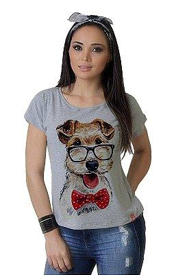 Camiseta Feminina WEVANS CACHORRINHO GRAVATA