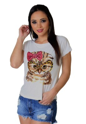 Camiseta Feminina WEVANS GATINHA ÓCULOS