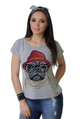Camiseta Feminina WEVANS CACHORRO PUG