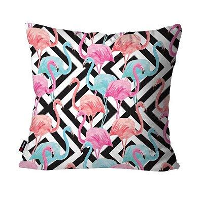 Almofada Avulsa Dec Flamingos Abstrato  45cm x 45cm