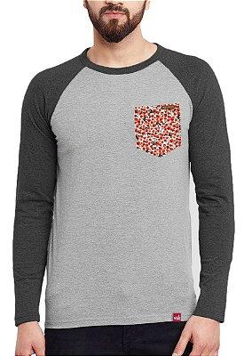 Camiseta Manga Longa Wevans Bolso Aplique Floral