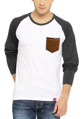 Camiseta Manga Longa Wevans Bolso Aplique Couro