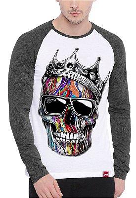 Camiseta Raglan Wevans Manga Longa  Caveira Coroa Cinza